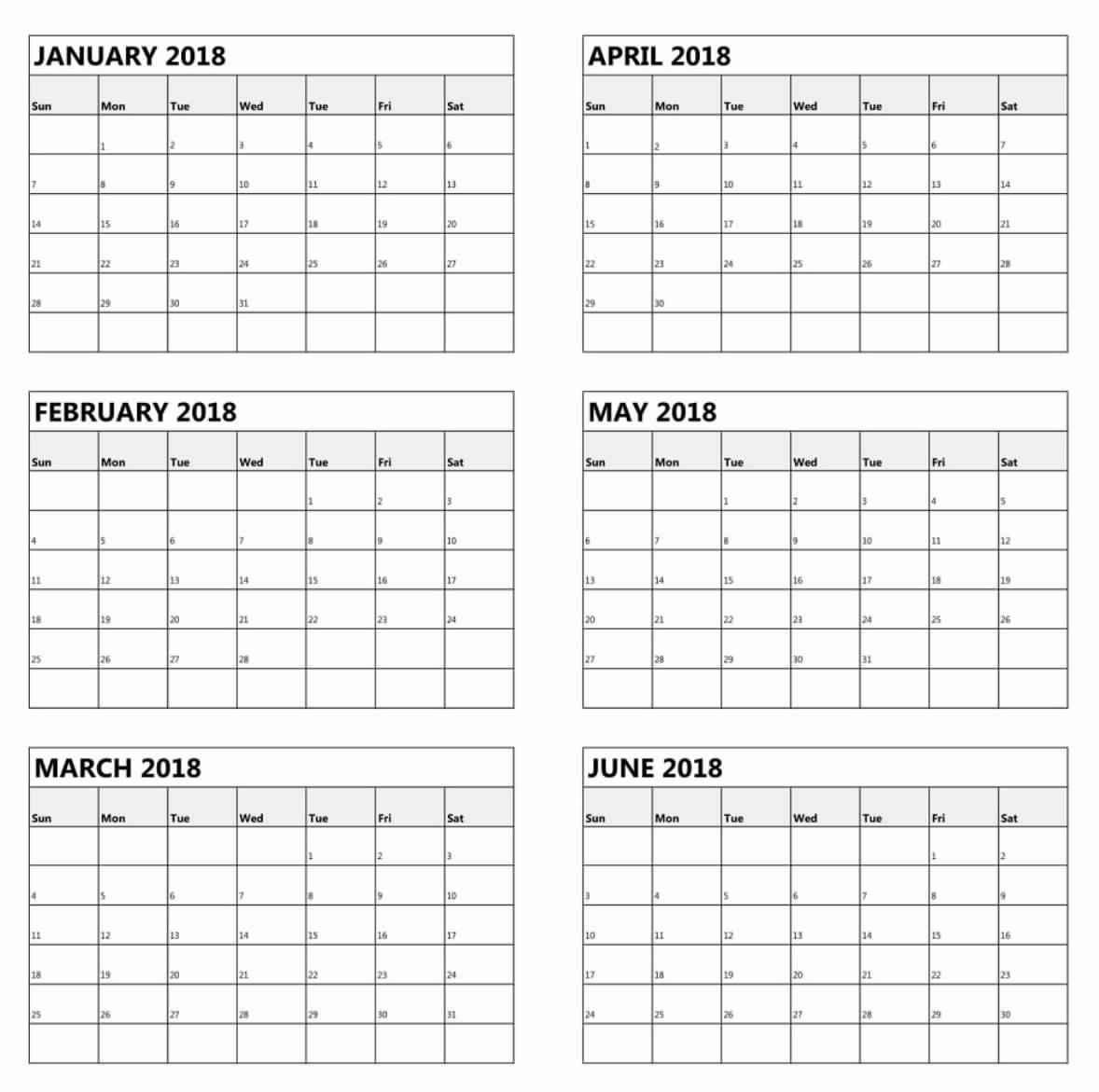 Free Printable 6 Month Calendar   Template Calendar Printable
