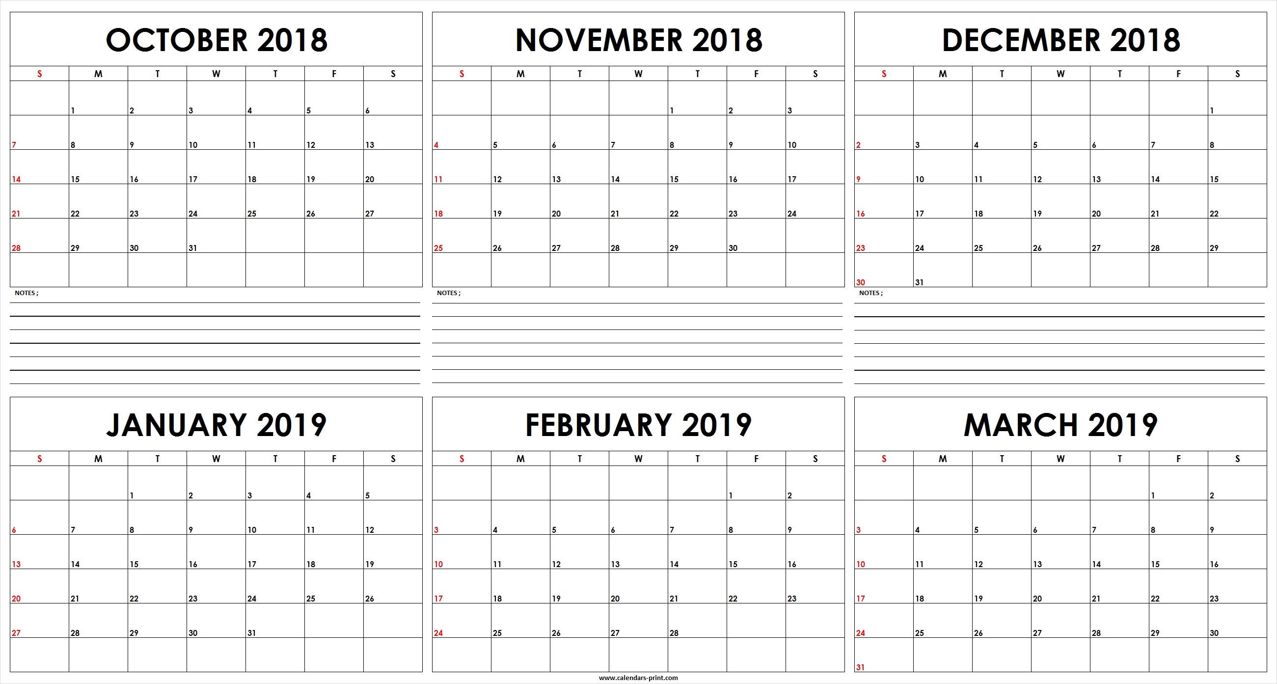 Free Printable 6 Month Calendar Template • Printable Blank