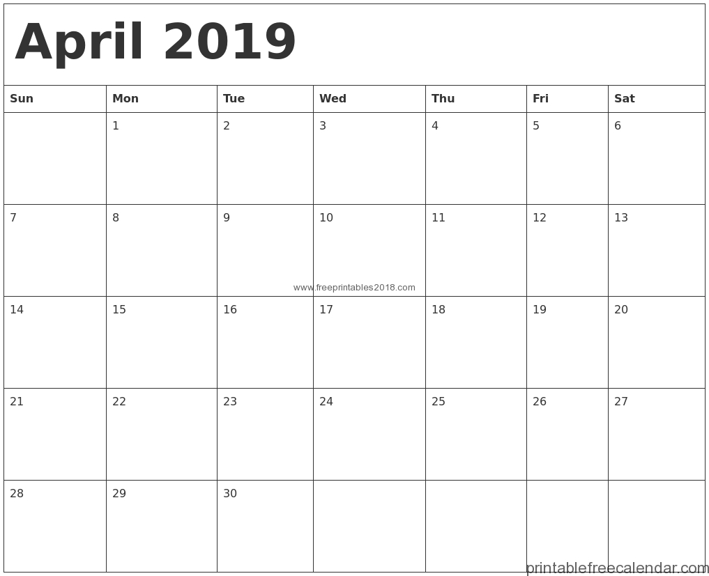 Free Printable April 2019 Calendar Templates | Free