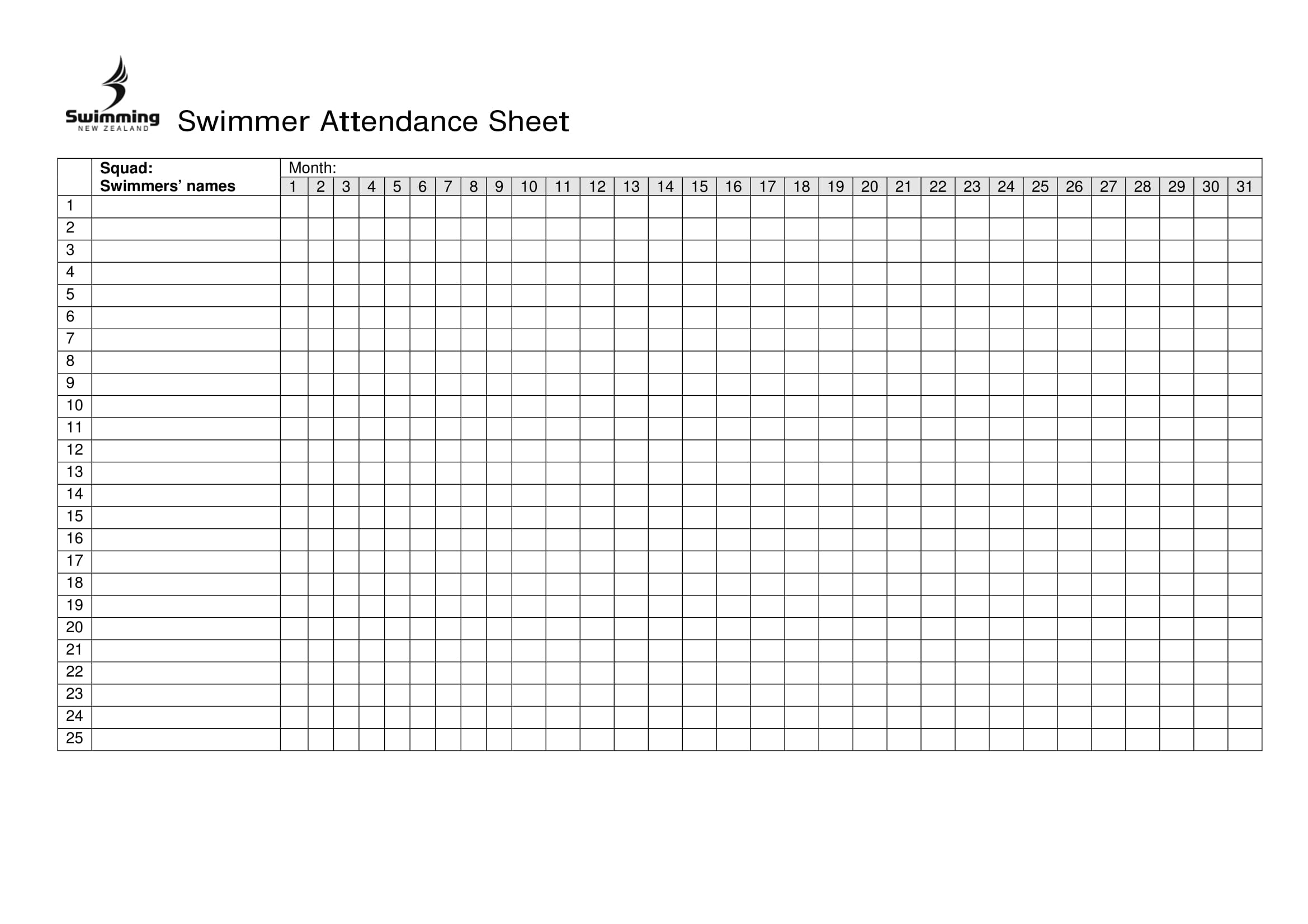 Free Printable Attendance Chart Charts For Sunday School