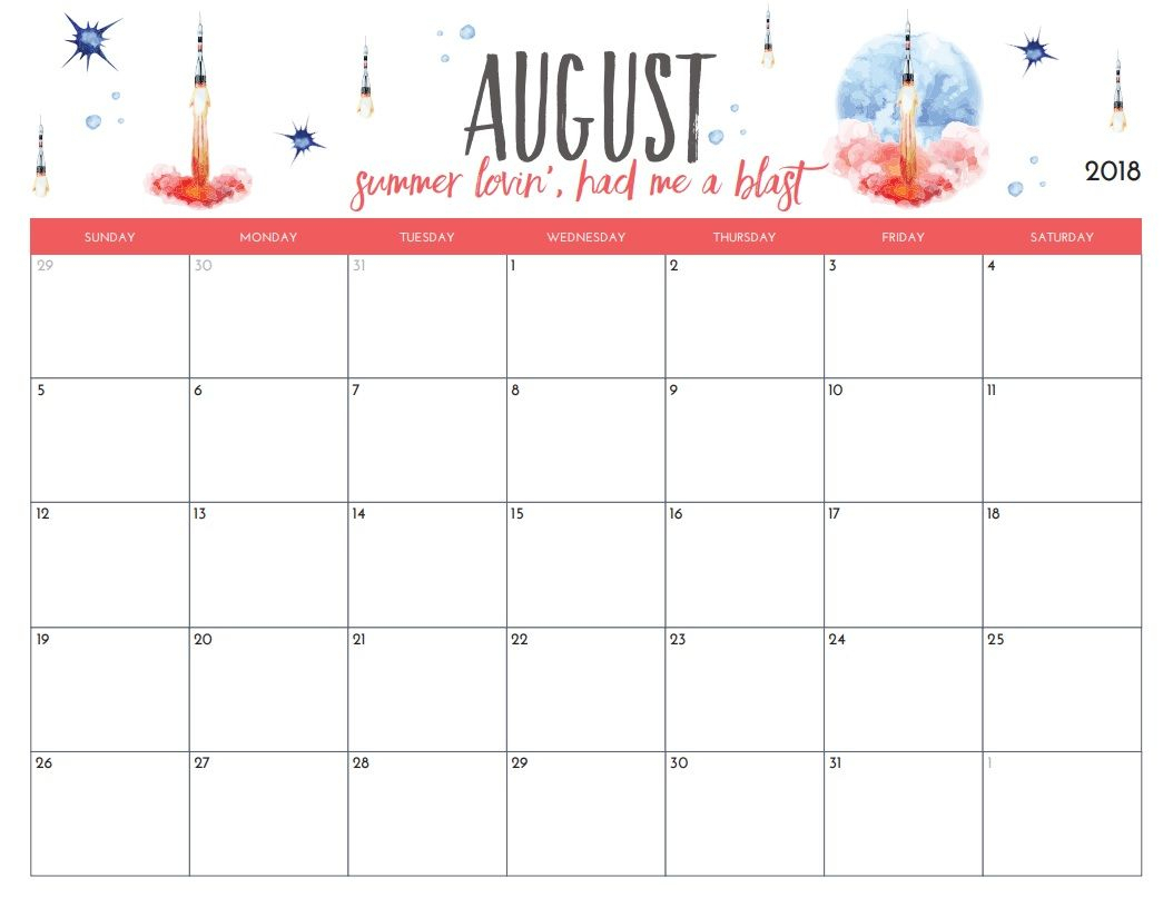 Free Printable August 2018 Monthly Calendar | Printables