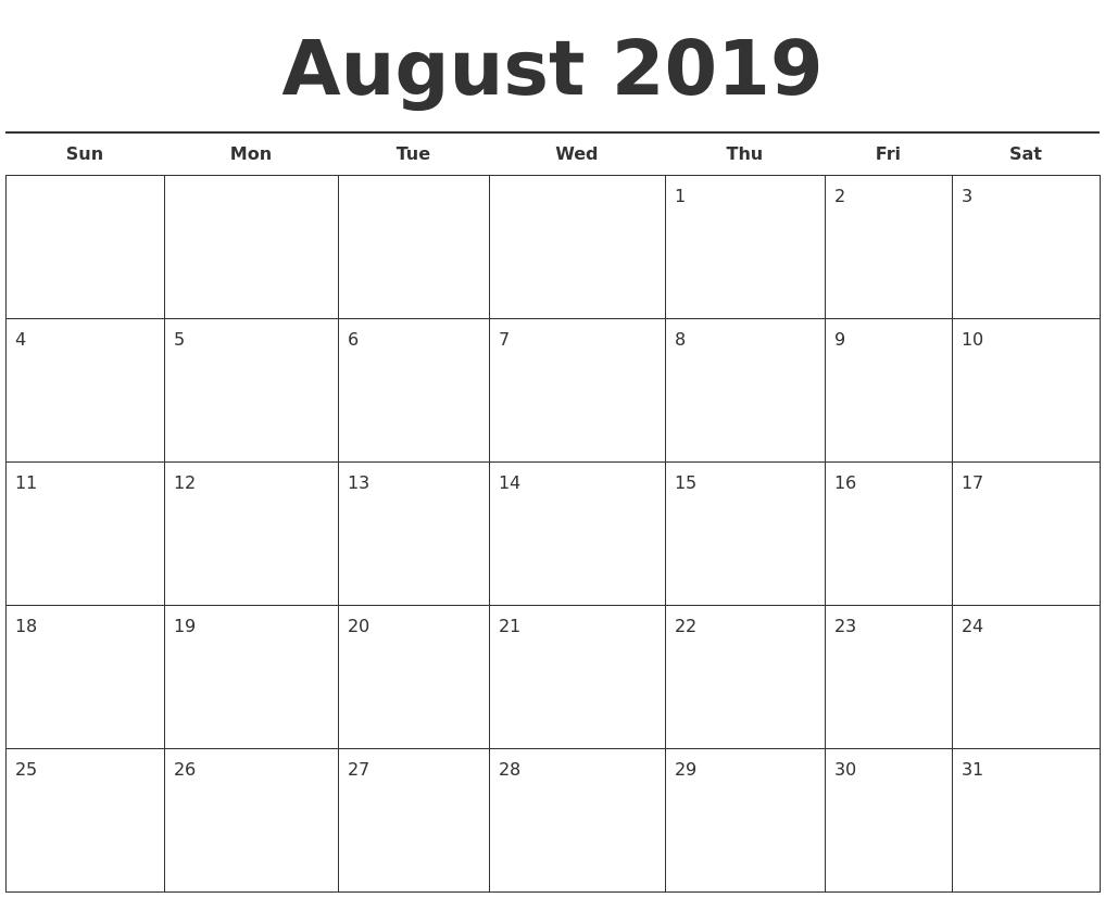 Free Printable August 2019 Calendar Landscape - Free