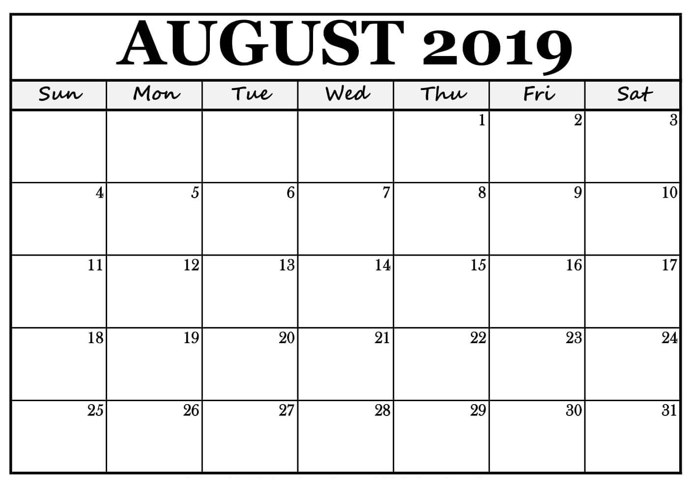 Free Printable August 2019 Calendar Landscape - Free