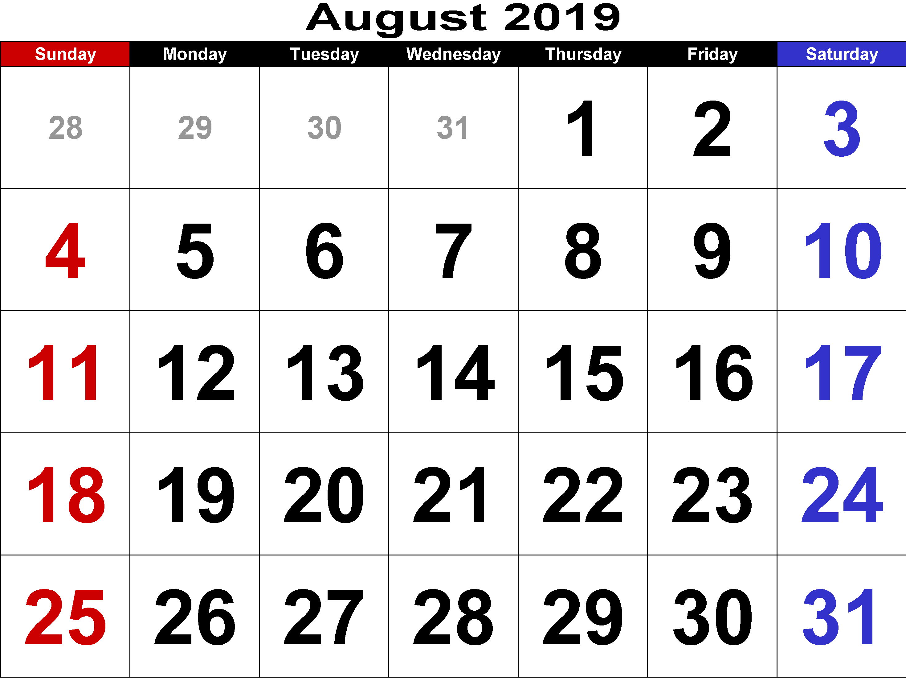 Free Printable August 2019 Calendar With Holidays
