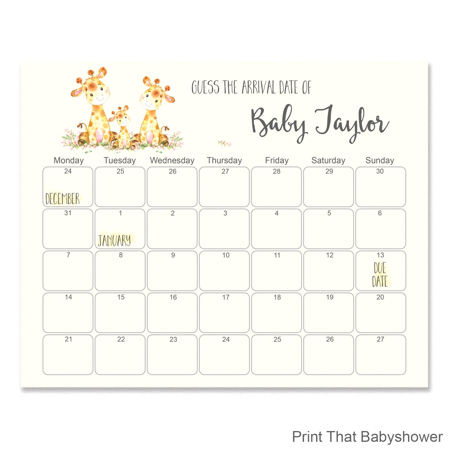 Free Printable Baby Shower Due Date Calendar Guess The