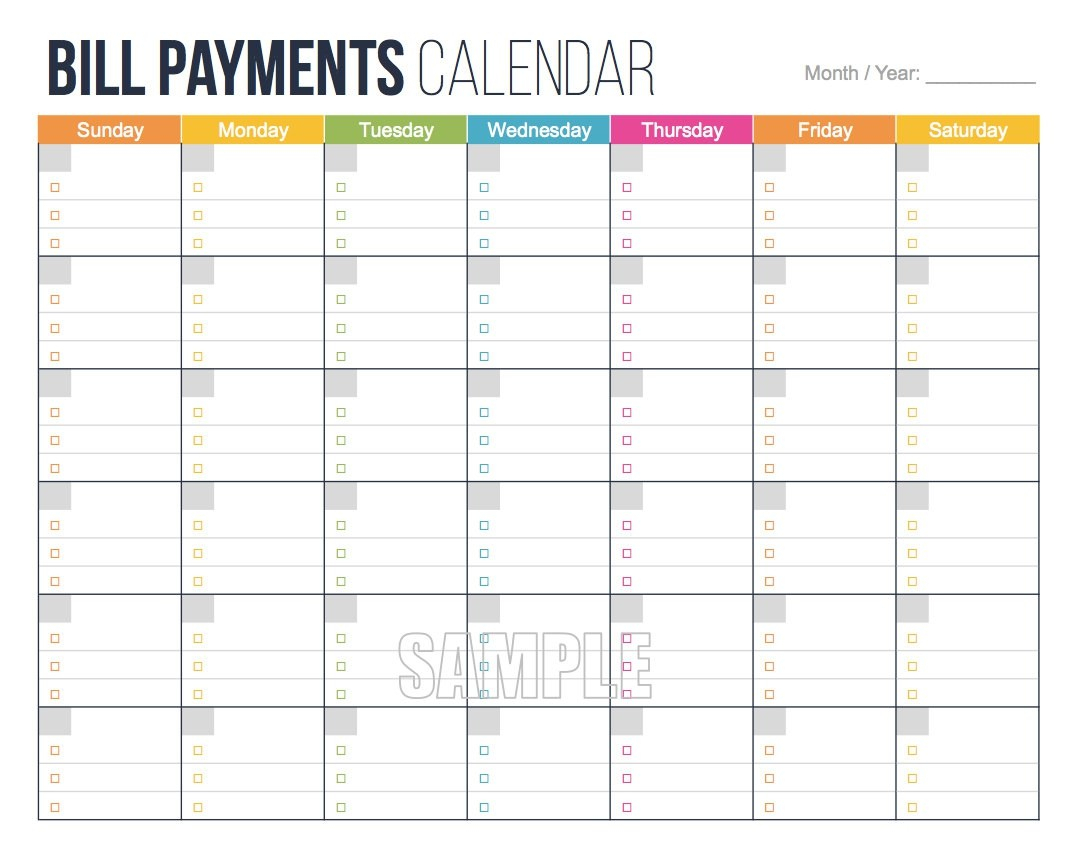 Free Printable Bill Pay Calendar Mplate Within Of Sale