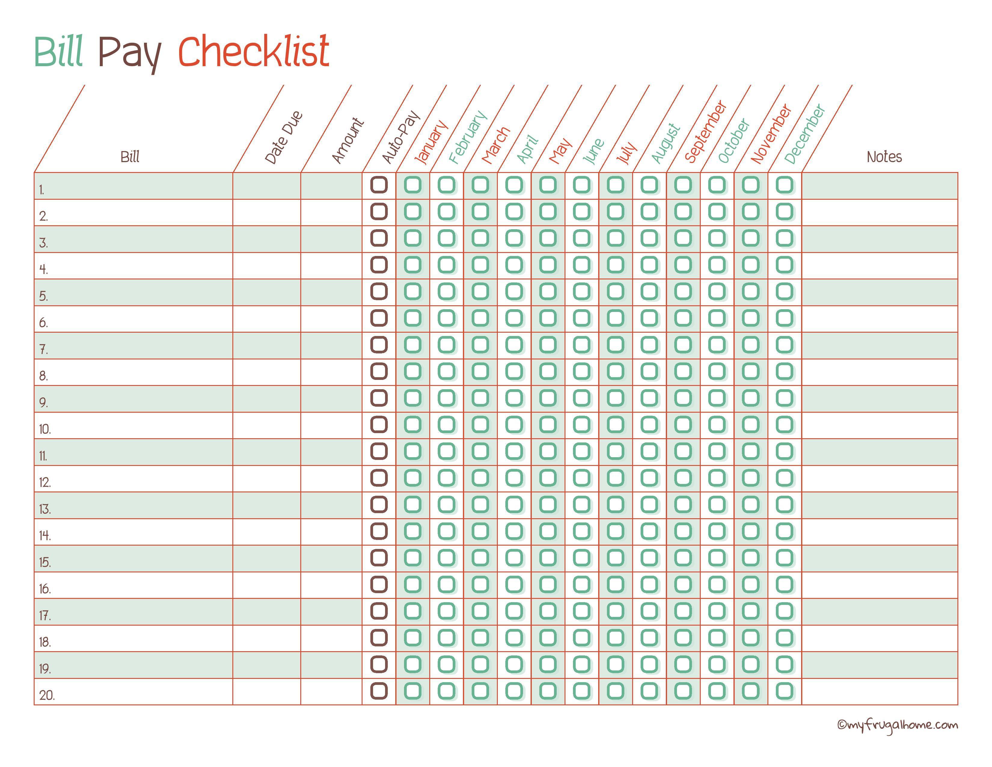 Free Printable Bill Pay Calendar Templates