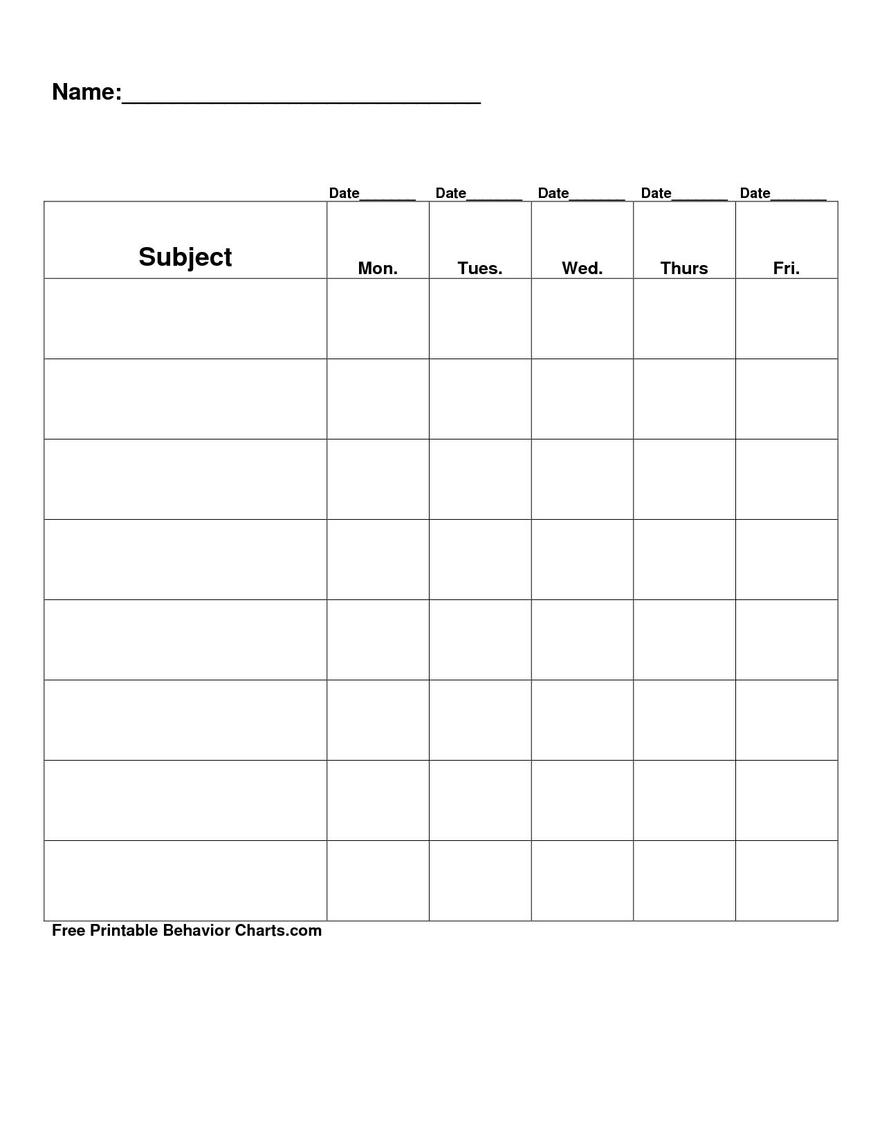 Free Printable Blank Charts | Free Printable Behavior Charts