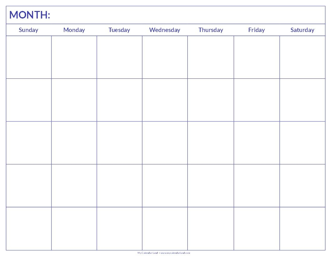 Free Printable Blank Monthly Calendar | Student Handouts