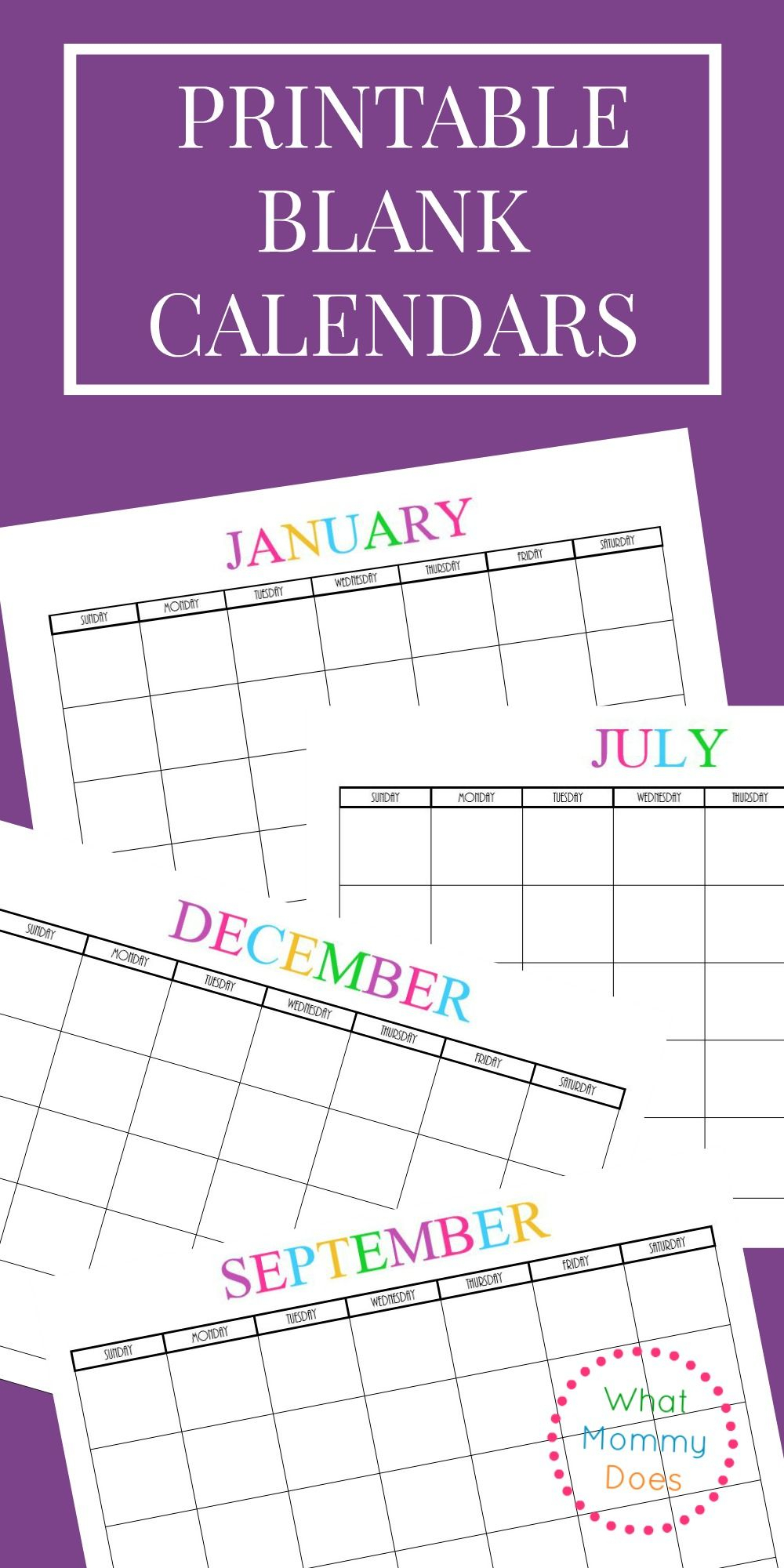 Free Printable Blank Monthly Calendars – 2018, 2019, 2020