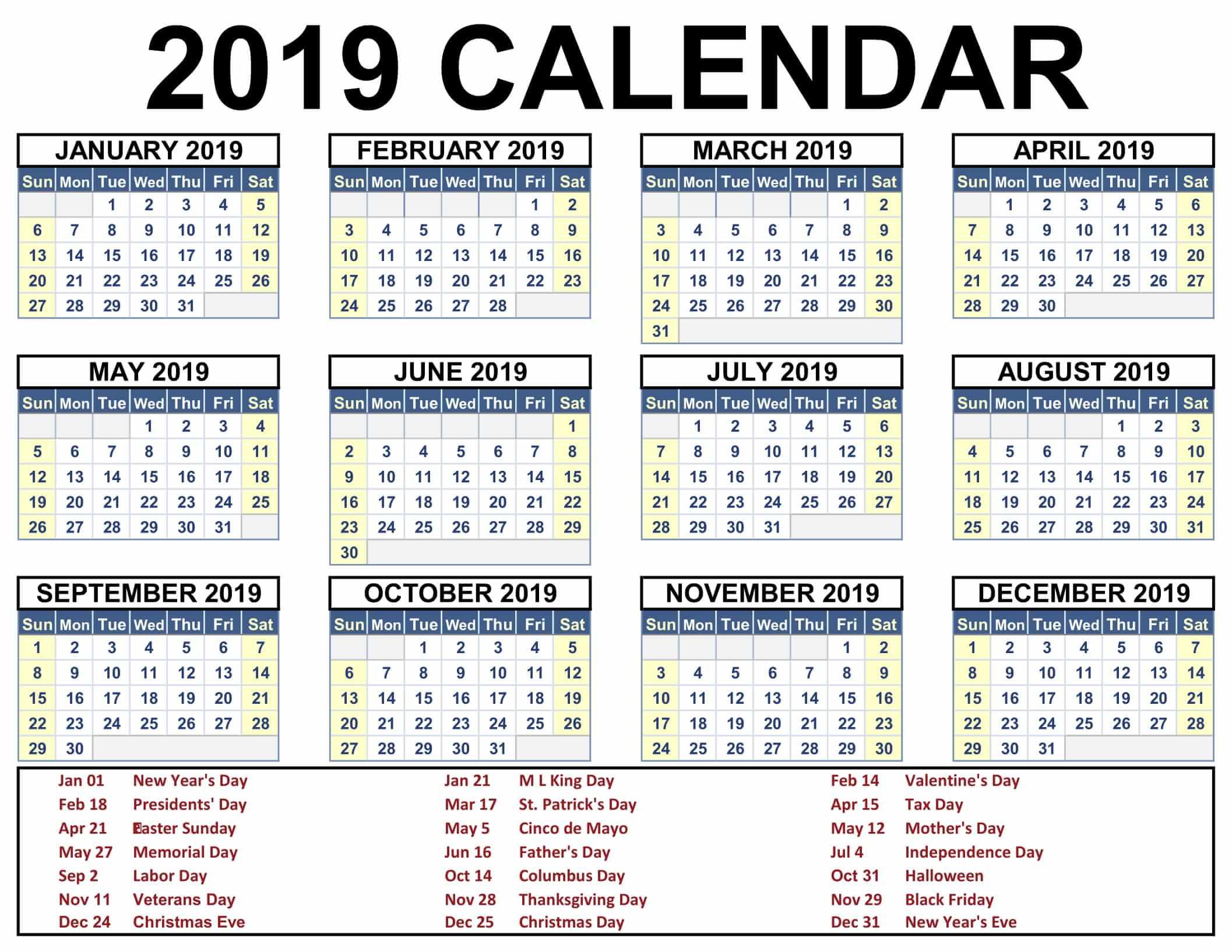 Free Printable Calendar 2019 With Holidays Pdf, Word, Excel