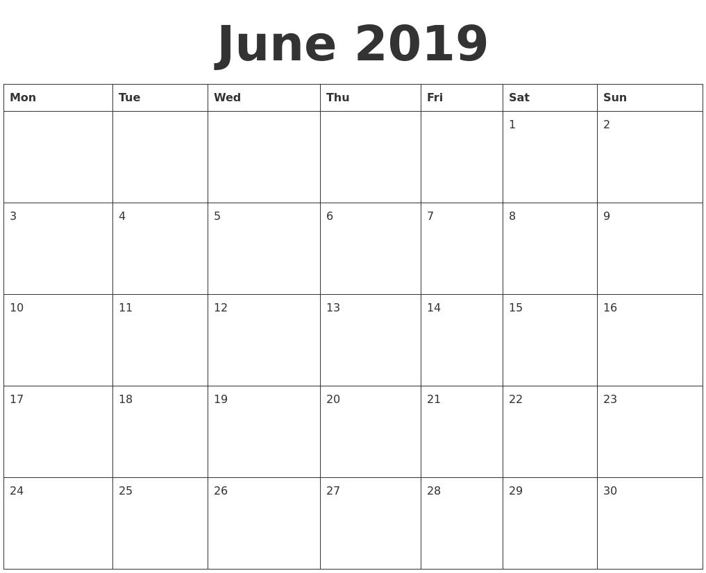 Free Printable Calendar June 2019 June 2019 Blank Calendar