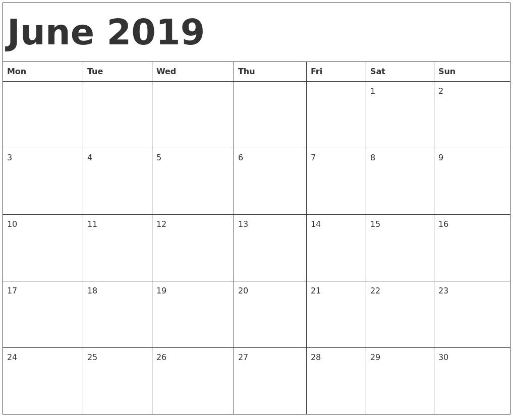 Free Printable Calendar June 2019 June 2019 Calendar