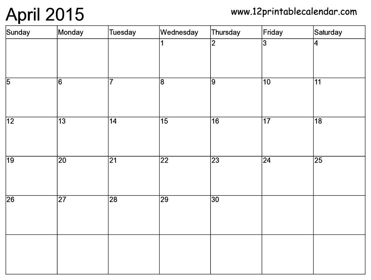 Free Printable Calendar Templates Month | 2015 Calendar