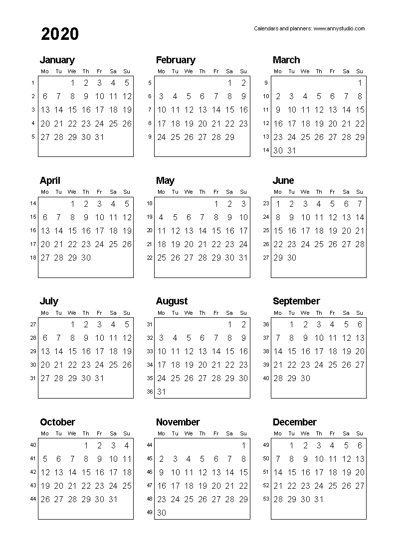 Free Printable Calendars And Planners 2019, 2020, 2021, 2022