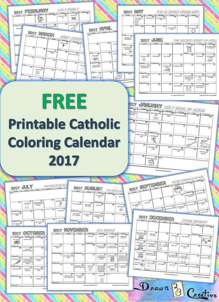 Free Printable Catholic Coloring Calendar 2017   Pray✝Learn