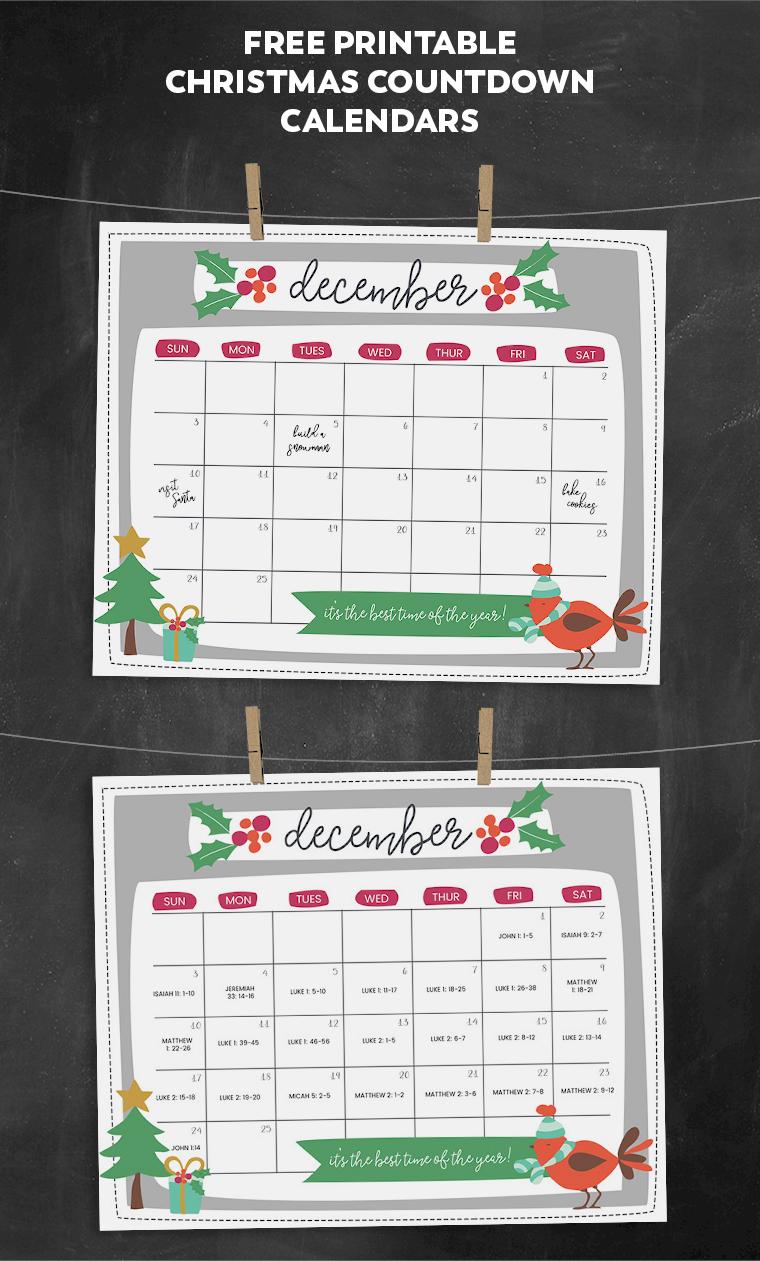Free Printable Christmas Countdown Calendar For December   2