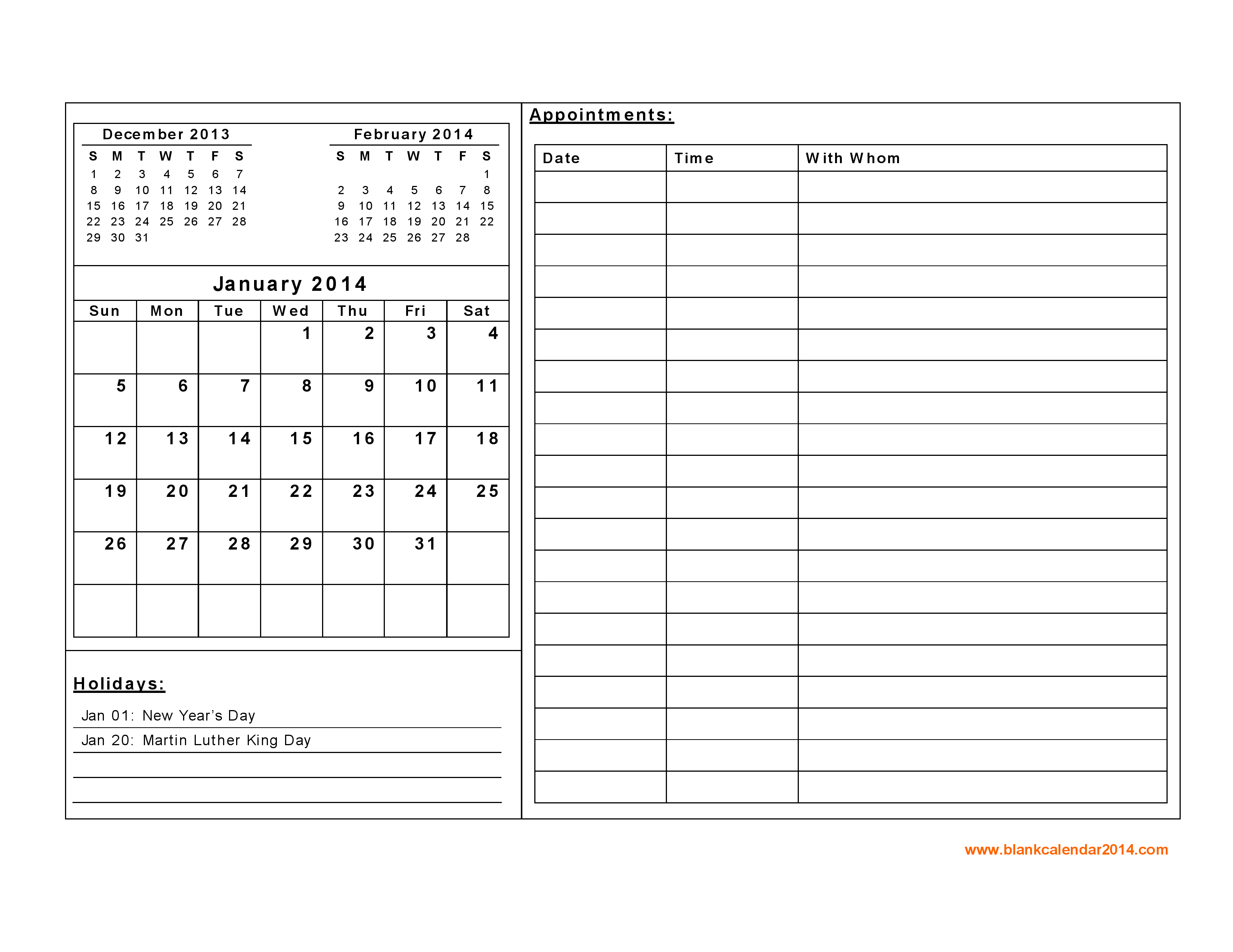 Free Printable Daily Calendar With Notes - Google Search
