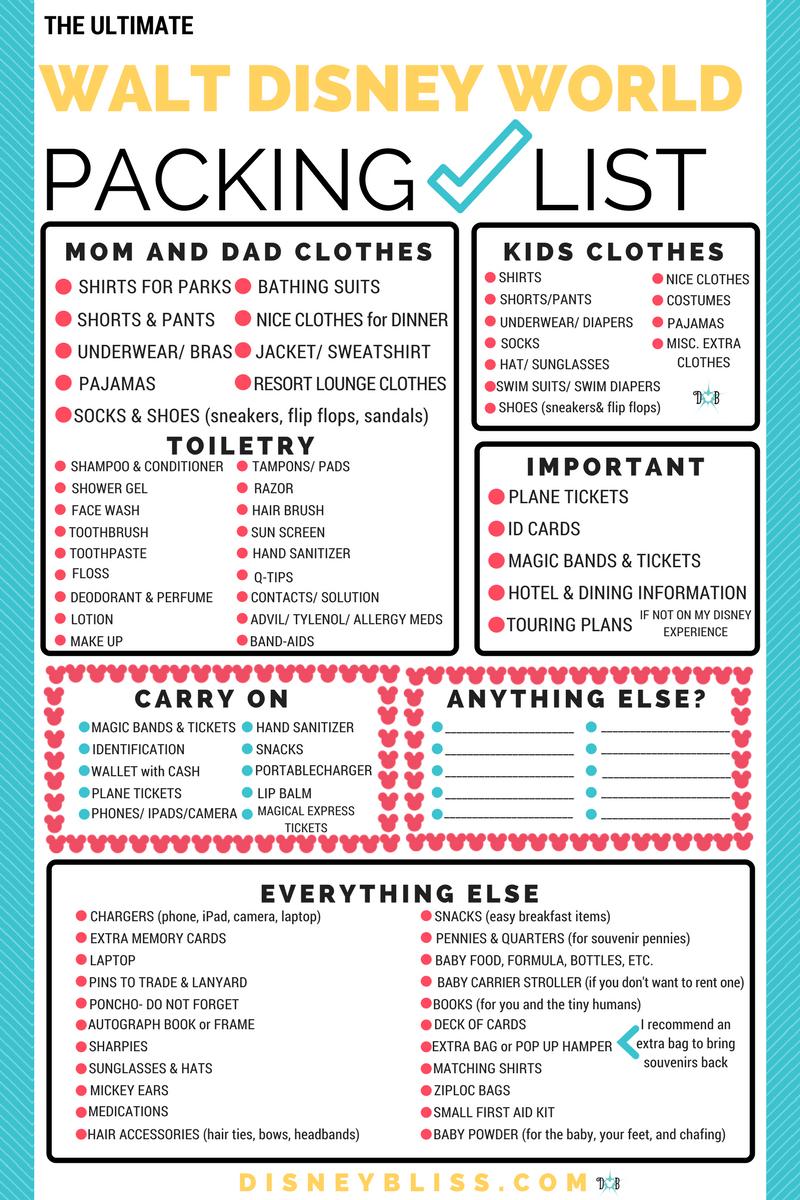 Free Printable Disney Packing Check List | Disney Prepping