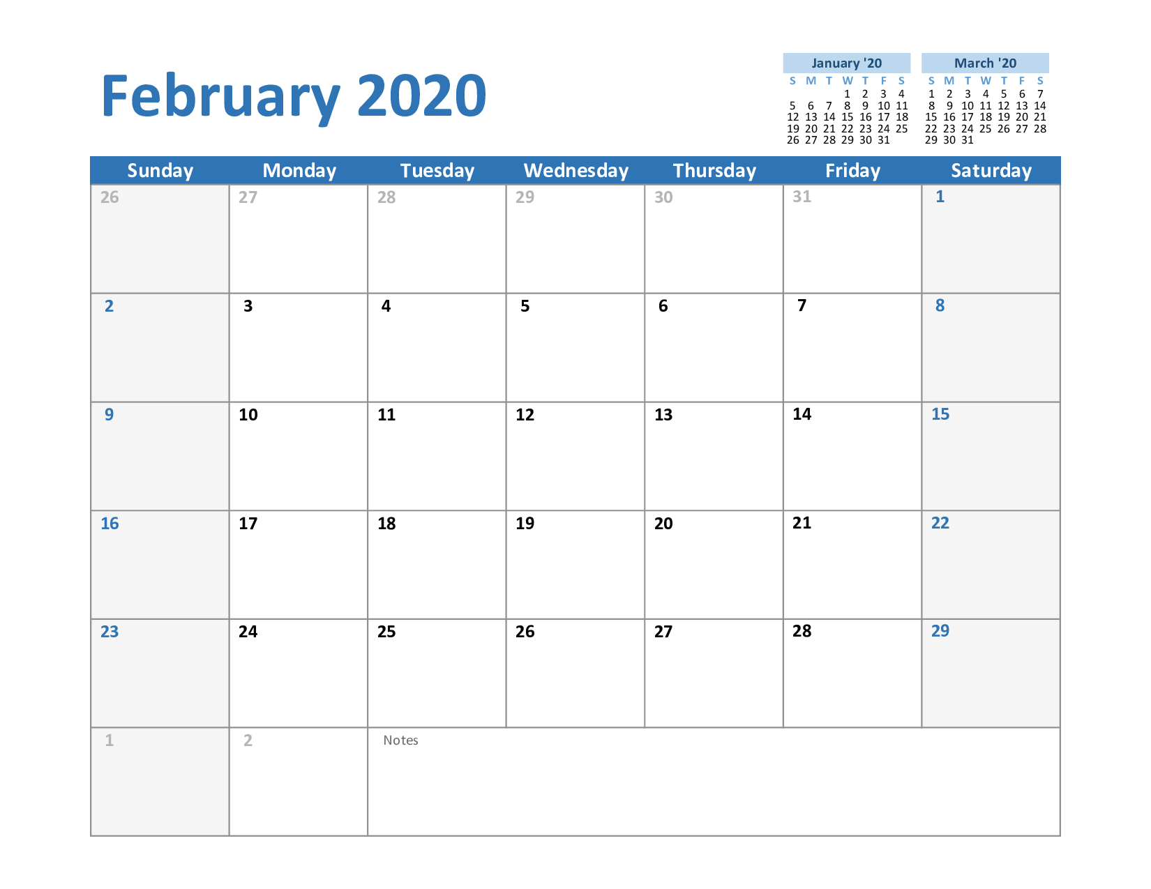 Free Printable February 2020 Calendar In Pdf,excel & Word