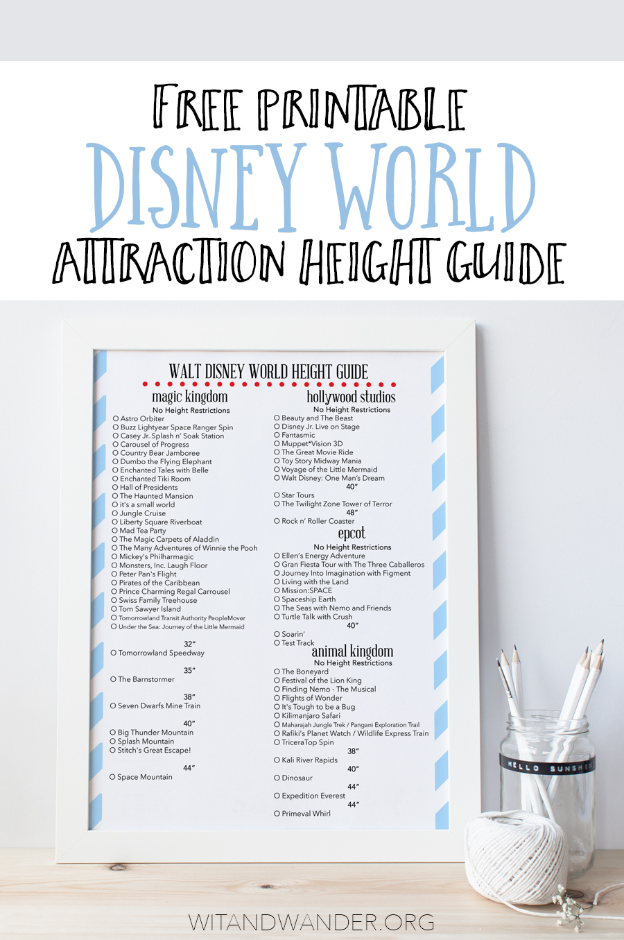 Free Printable Height Guide To Rides At Disney World - Our