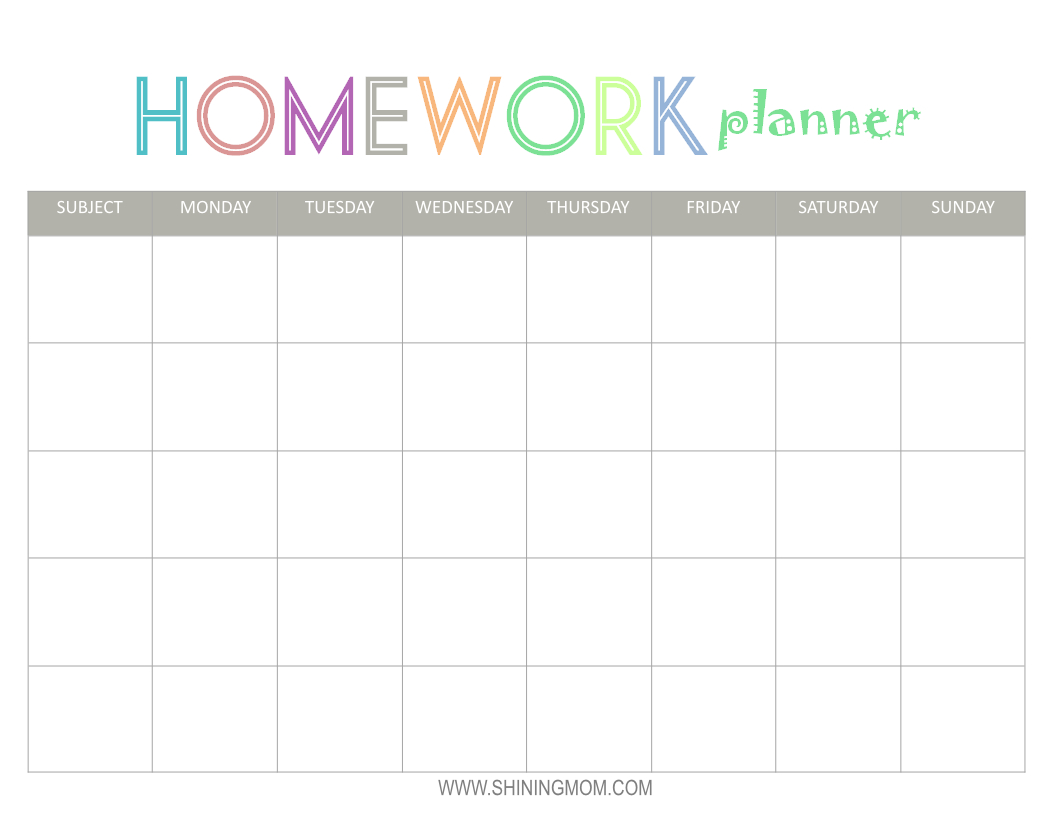 Free Printable: Homework Planner | Top Free Printables