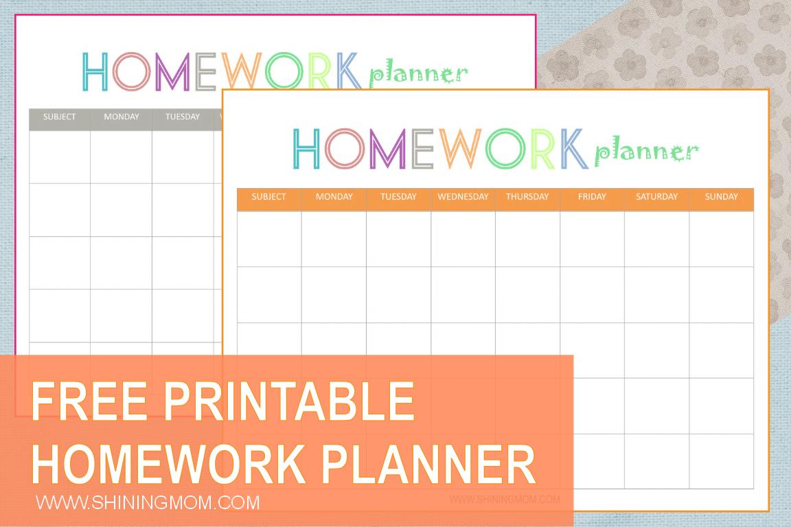 Free Printable: Homework Planner