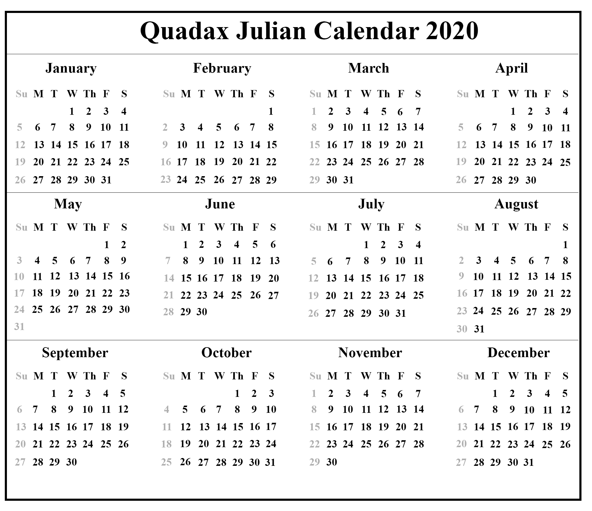 Free Printable Julian Calendar 2020 Template | Printable
