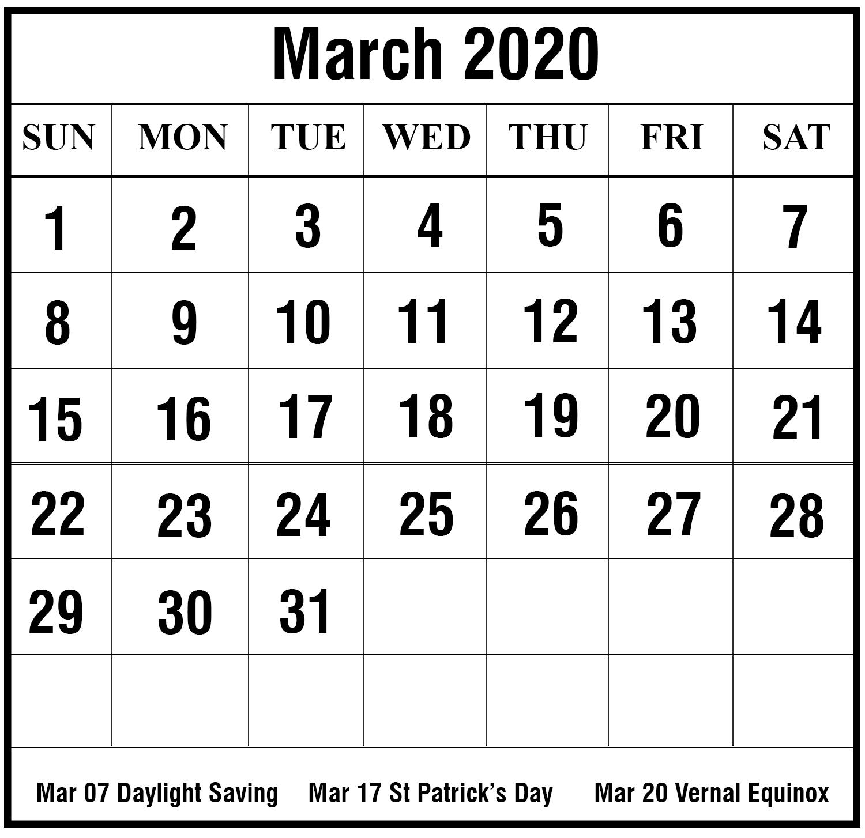 Free Printable March 2020 Calendar Templates [Pdf,word,excel