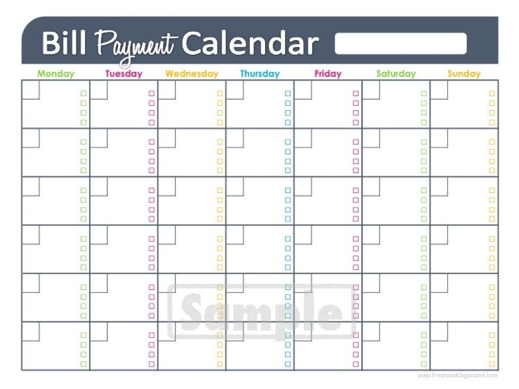 Free Printable Monthly Bill Pay Chart | Calendar Template