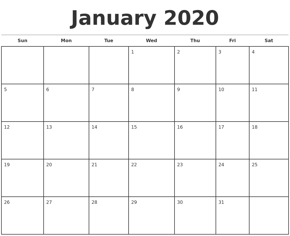 Free Printable Monthly Calendar 2020 | Isacl