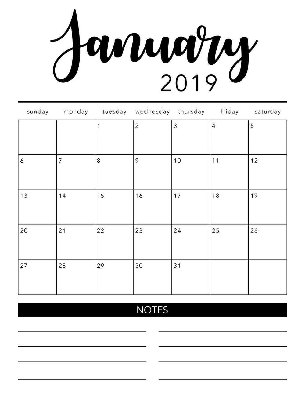 Free Printable Monthly Calendar With Lines 2018 And 2019