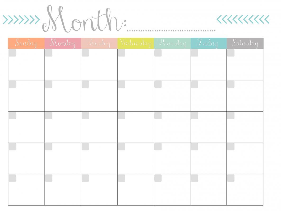 Free Printable Monthly Calendars | Skakun Media
