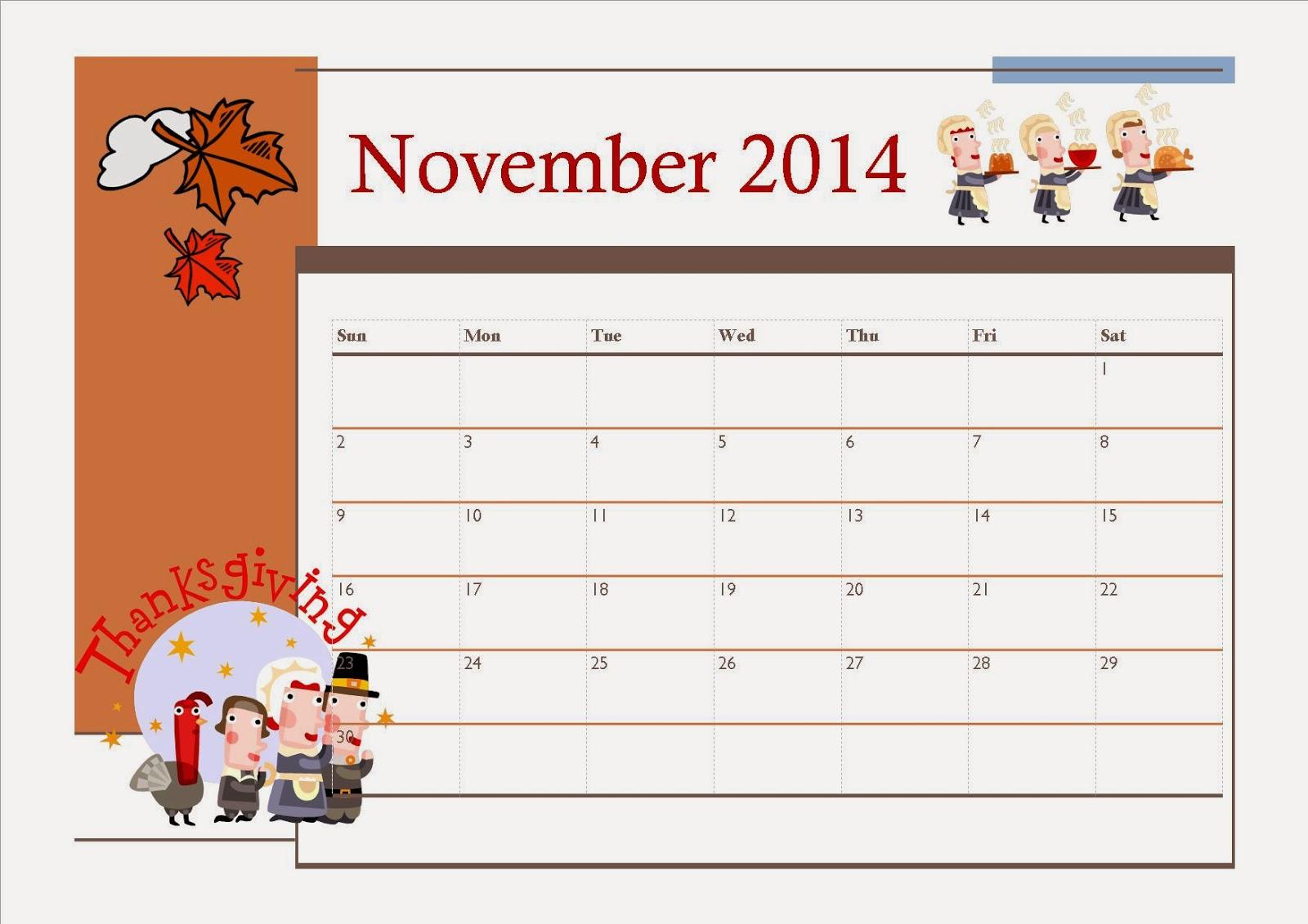 Free Printable November 2014 Calendar For Kids