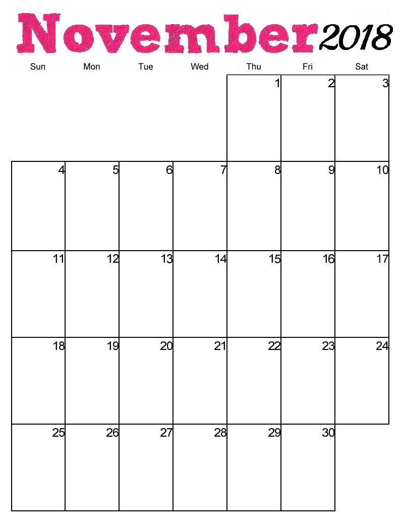Free Printable November 2018 Vertical Calendar | Just Stuff