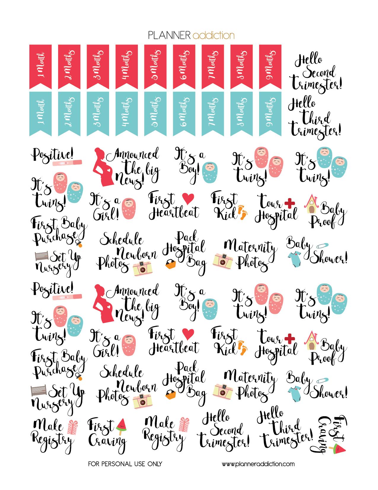 Free Printable Planner Stickers - Pregnancyplanner
