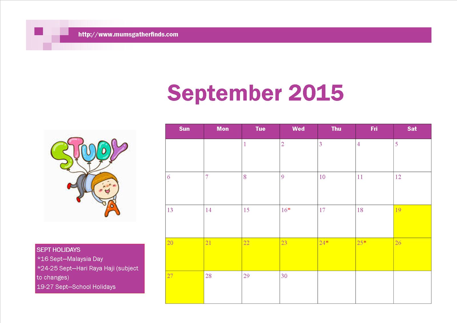 Free Printable September 2015 Calendar With Malaysia Public