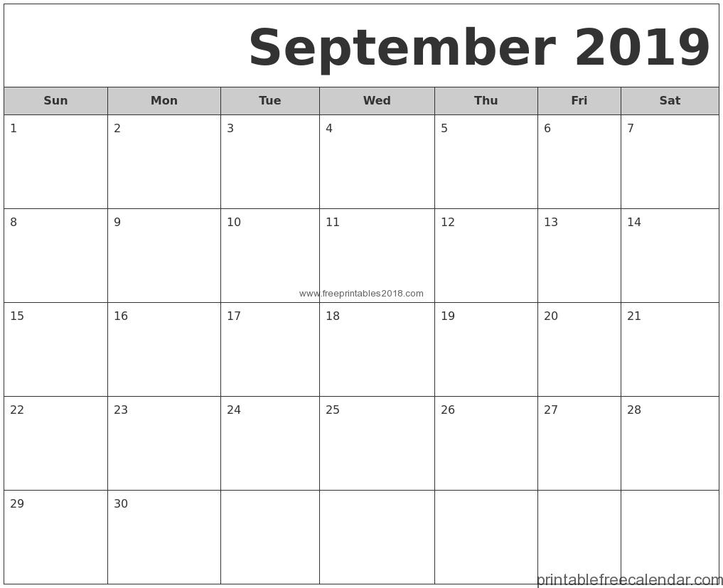 Free Printable September 2019 Calendar Templates | Free