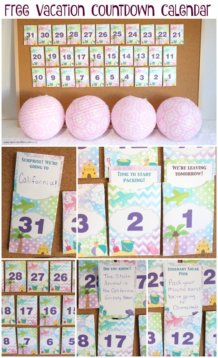 Free Printable Vacation Countdown Calendar | Crafts