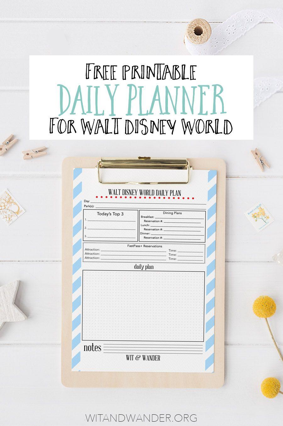 Free Printable Walt Disney World Daily Planner | Disney Park