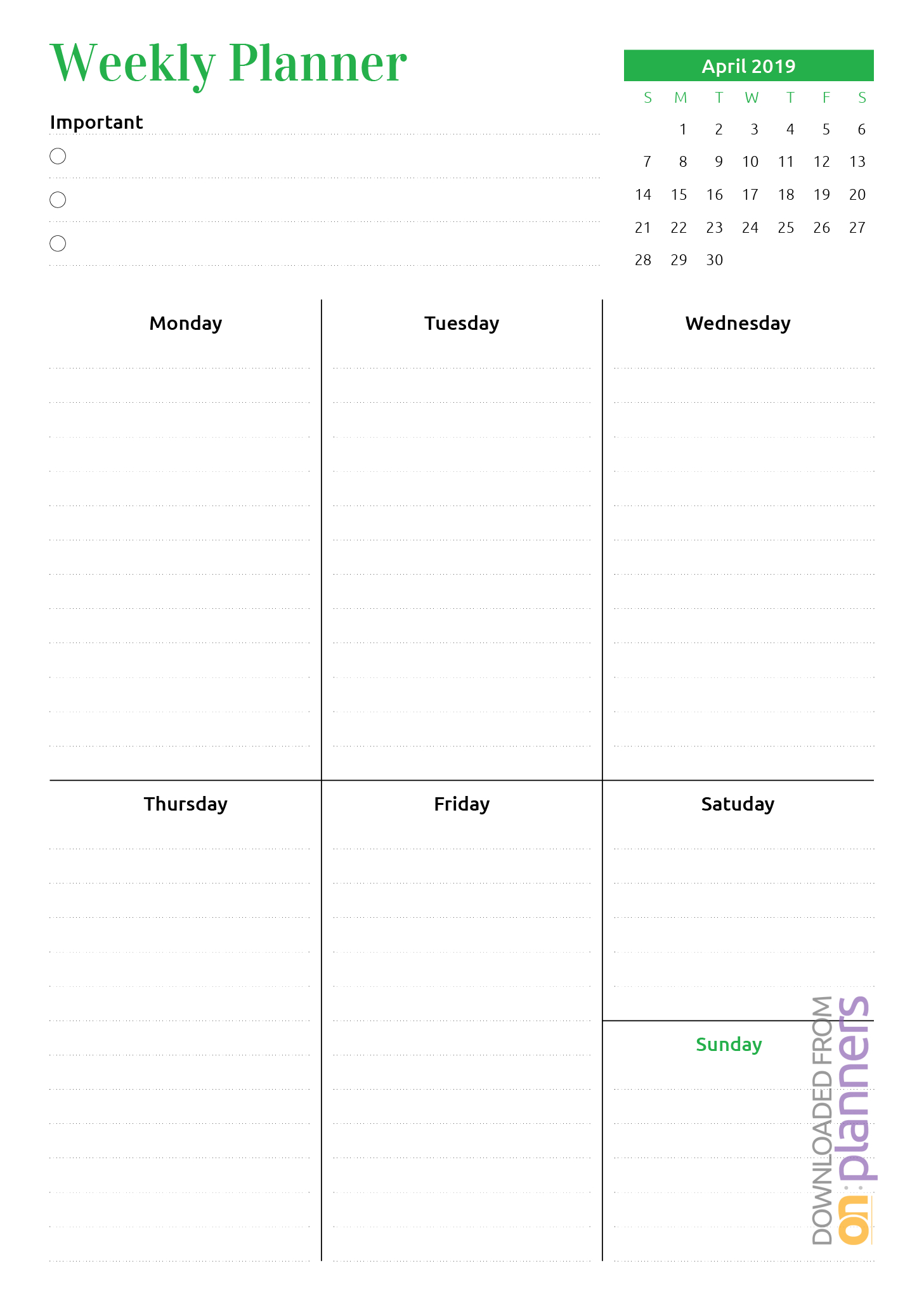 Free Printable Week At A Glance Planner With Calendar Pdf