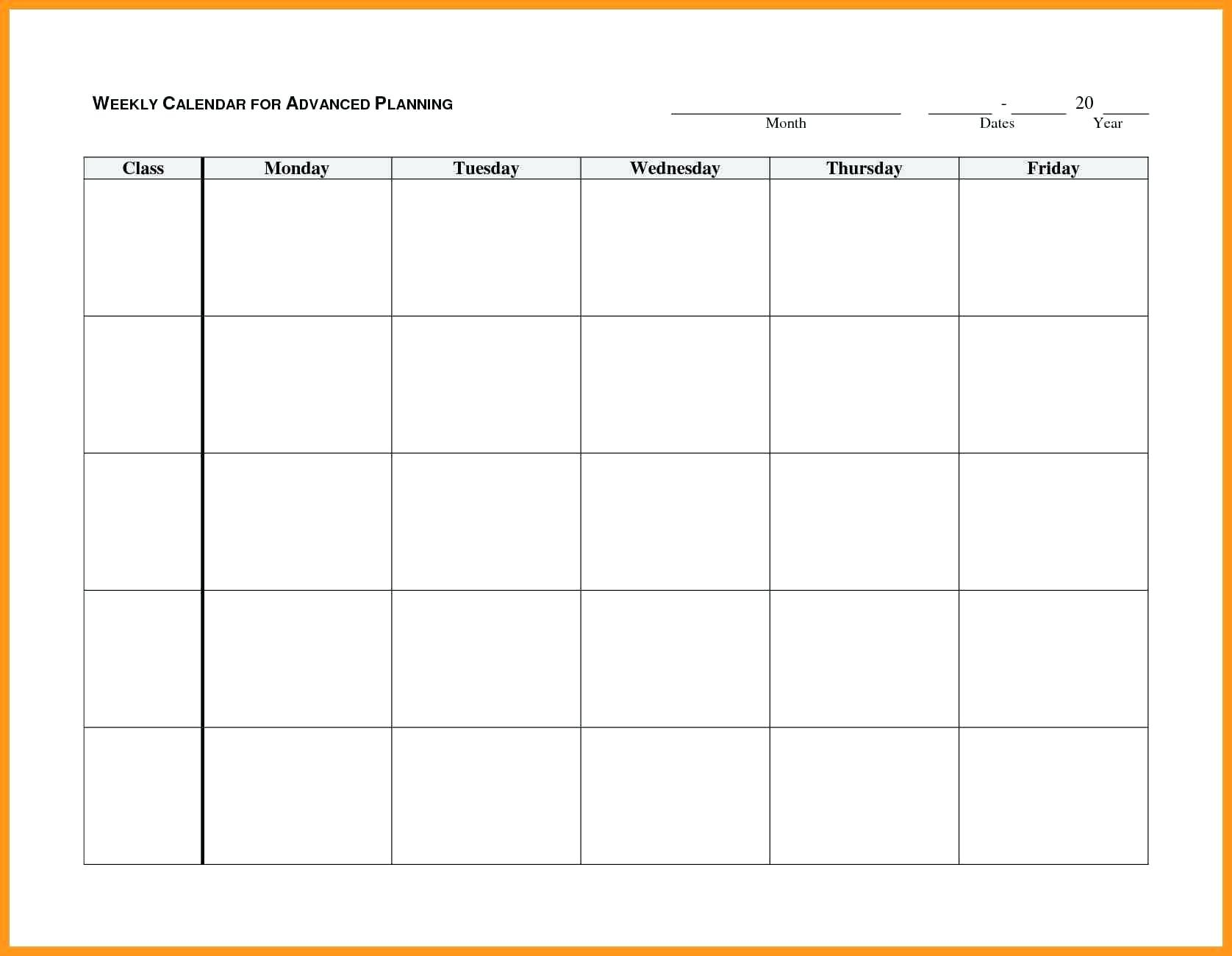Free Printable Weekly Alendar Monday To Friday Through
