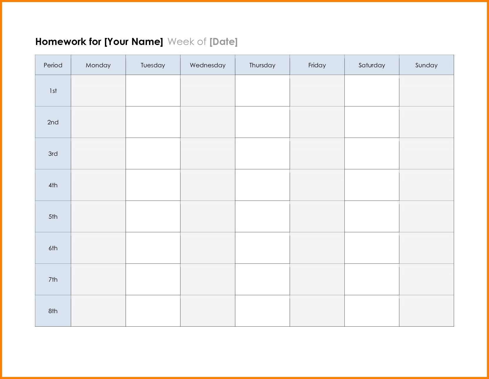 Free Printable Weekly Planner Template Calendar Excel Word