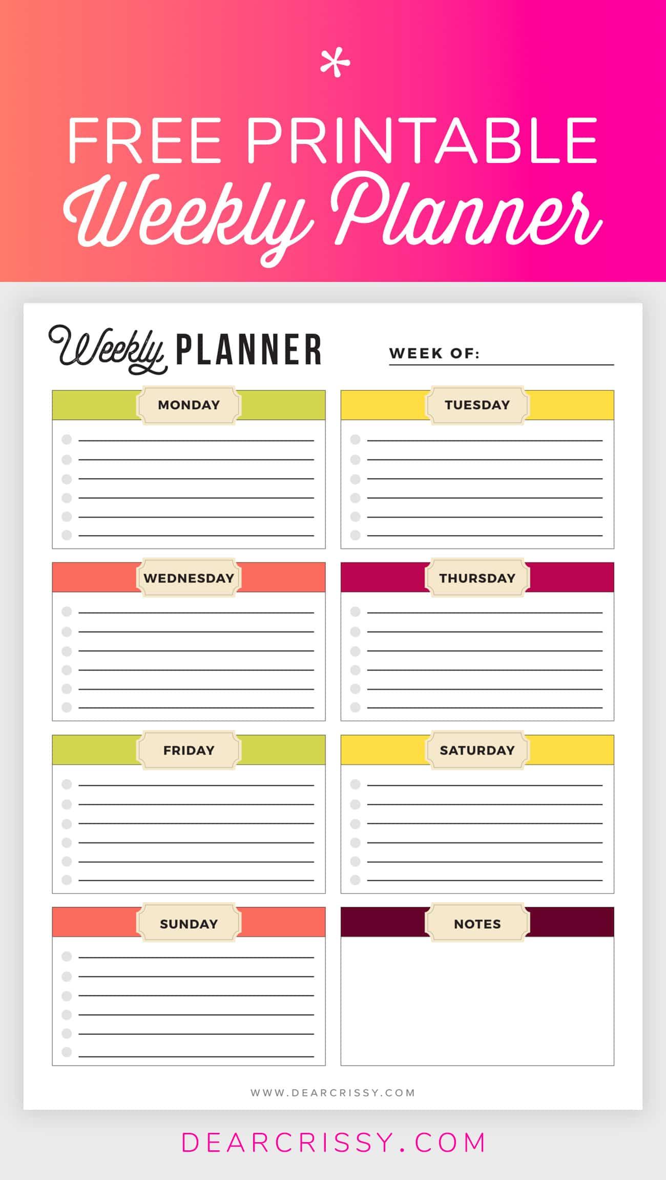 Free Printable Weekly Planner - Weekly Planner Printable!
