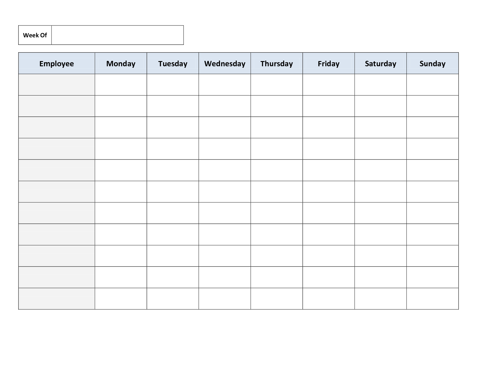 Free Printable Work Schedules   Weekly Employee Work