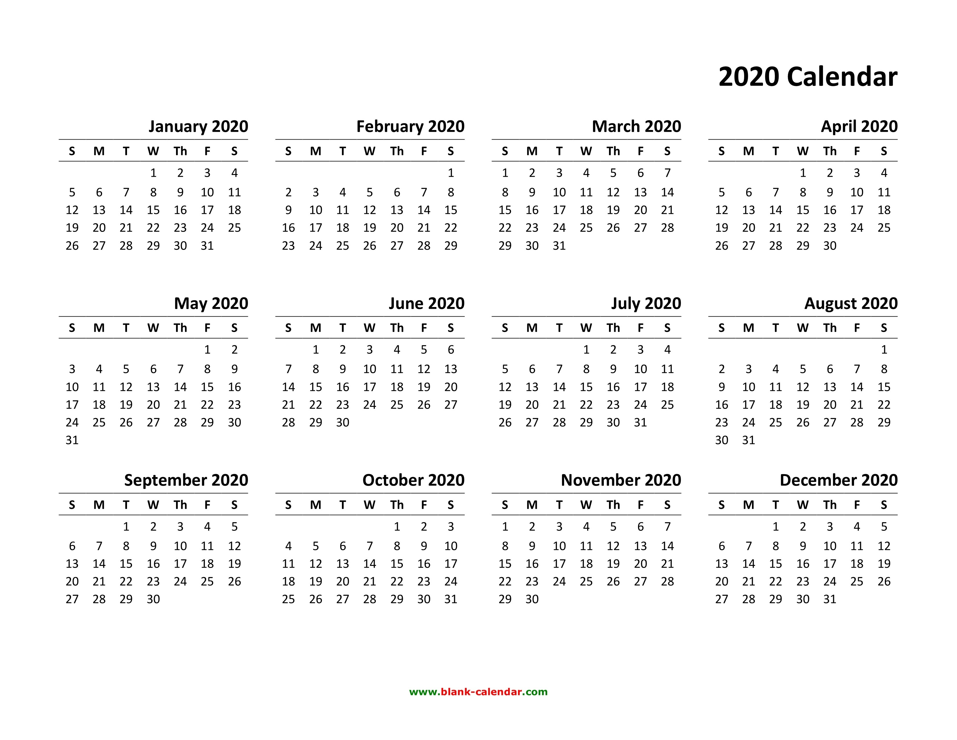 Free Printable Yearly Calendar 2020 | Isacl