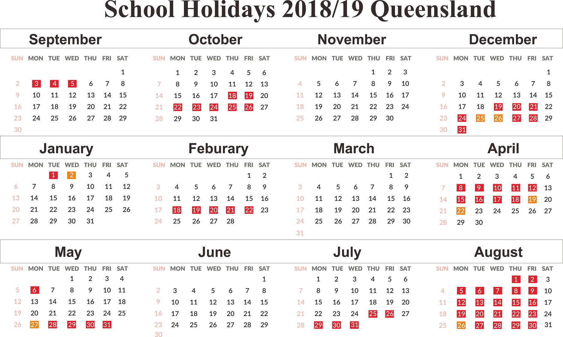 Free Qld (Queensland) School Holidays Calendar 2018-2019