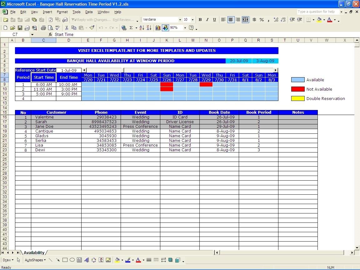 Free Reservation Calendar Template • Printable Blank