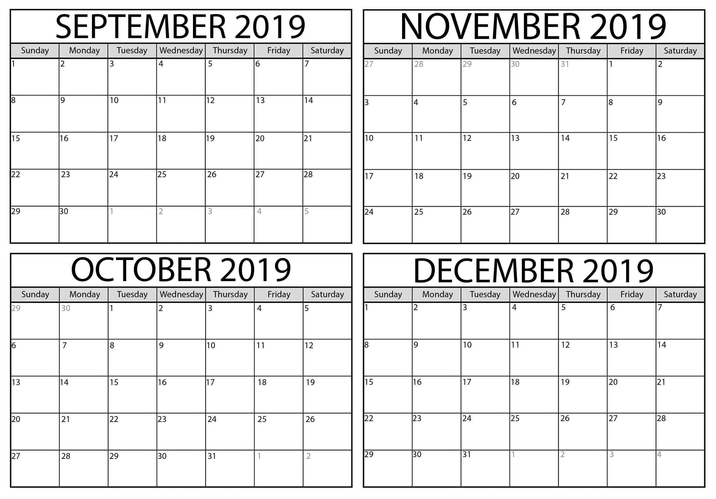 Free September To December 2019 Calendar Template - Net