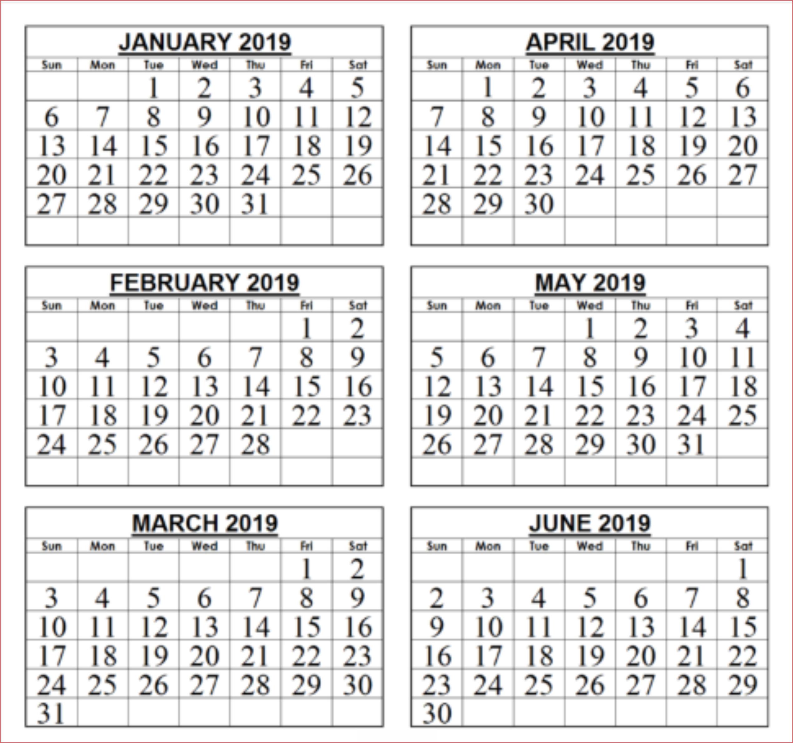 Free Template Of 2019 6 Month Calendar Print Calendar
